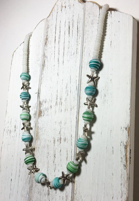Beaded Blue Green & White Necklace  Whimsical Necklace