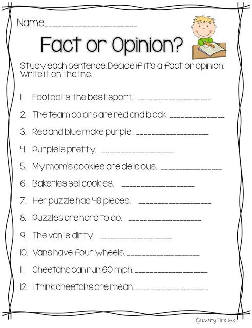 Fact and opinion worksheets ks2