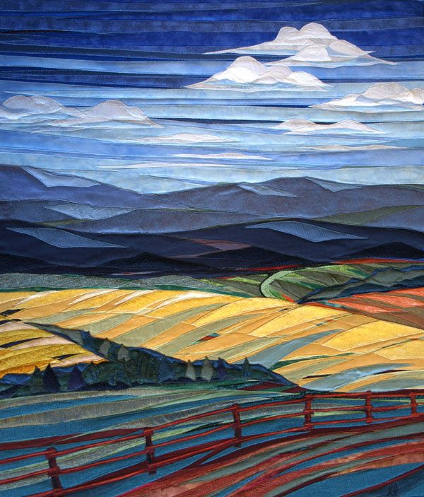 Clouds-Over-Fields-and-Fence by twin artists, Lisa and Lori Lubbesmeyer. They call their works, fiber paintings.                                                                                                                                                      More