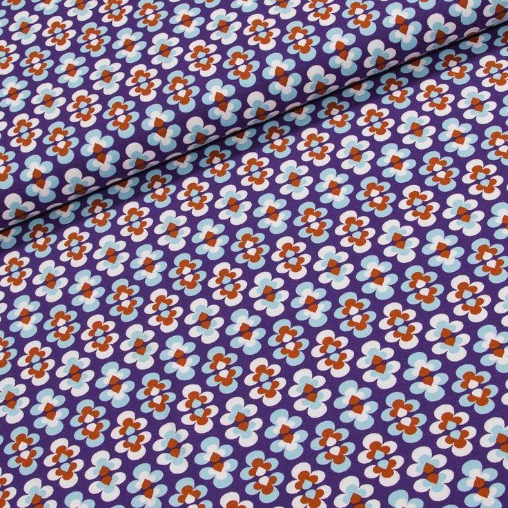 Bavlněný úplet TANTE EMA 998.322-0802 fialové květiny, š.150cm (látka v metráži) | Internetový obchod Chci Látky.cz