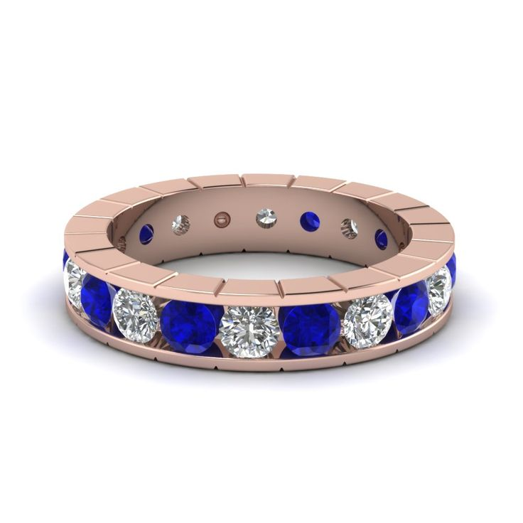Mens Eternity Rings Diamond Eternity Bands with Blue Sapphire in 18K Rose Gold exclusively styled by Fascinating Diamonds