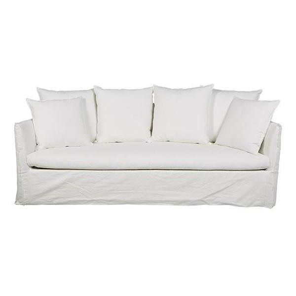 Globe West Vittoria Slip Cover 3 Seater Sofa 11 880 Sar Liked On Polyvore Featuring Home Furniture Sofas Sl Slipcovered Sofa White Linen Sofa Linen Sofa