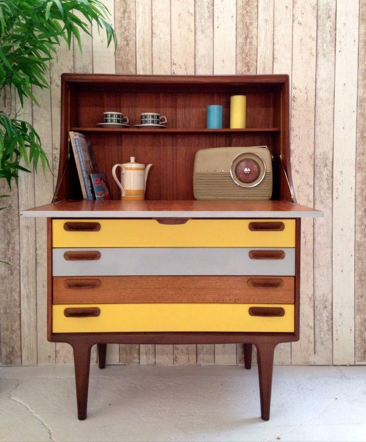 Vintage Retro Teak Bureau Desk Drinks Cabinet Mid Century Coloured Door Drawers