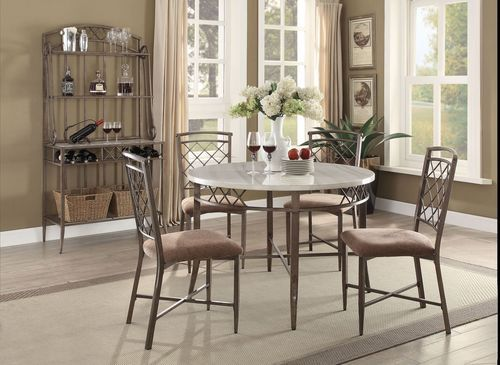 5 PC Acme Furniture Aldric Faux Marble Dining Room Table Set 73000 Part 82