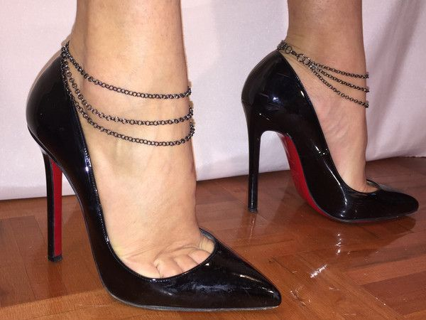 3 strand anklets Black Nickel Chain Available size: made to measure $25.00 for the set