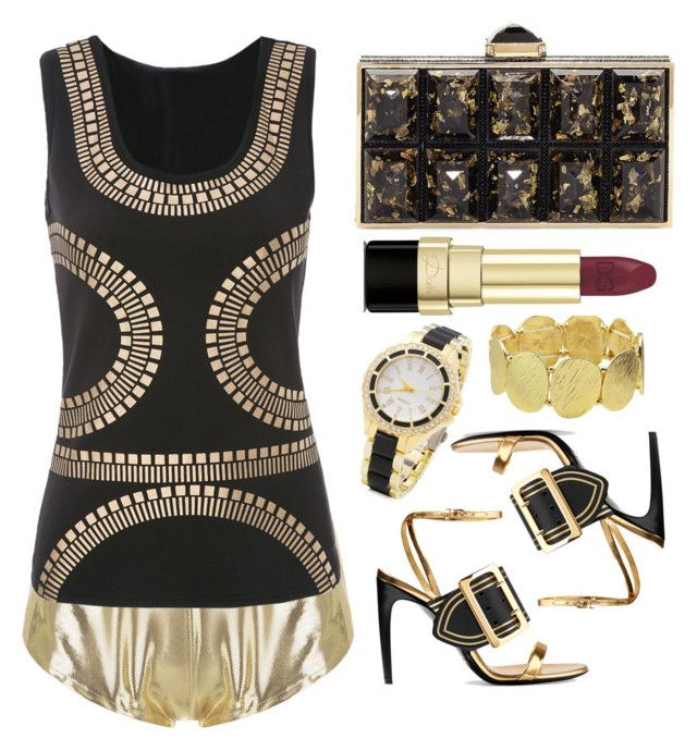 """""""Rock the night!"""" by simona-altobelli ❤ liked on Polyvore featuring ADRIANA DEGREAS, Burberry, Judith Leiber, Dolce&Gabbana, gold, NightOut, MyStyle and goldsandals"""