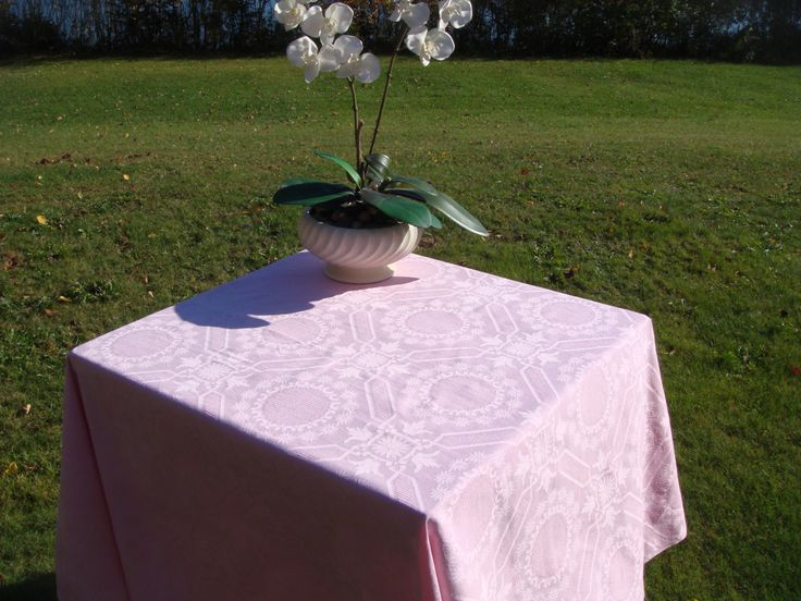 Pink-Vintage Damask Tablecloth - Rectangle, Irish Double Damask - Pink Table cloth with Lovely Flower and Geometric Motif repeat Design by MyBlueHummingbird on Etsy