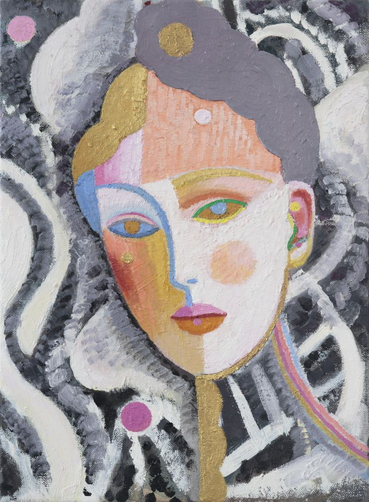 Yvette Coppersmith Head of a Woman with Gold oil on linen 38cm x 28cm 2015
