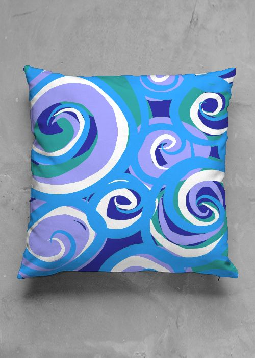 Blue Waves- luxury pillow design by Charles Bridge 7x  buy in my Vida collection