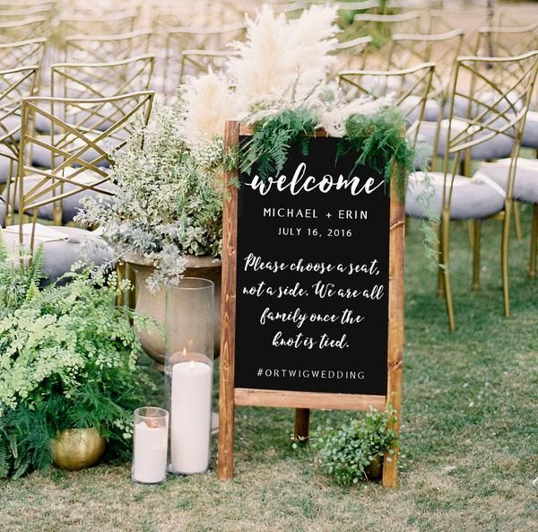 Weooden Wedding Sign Welcome To Our Wedding Chalkboard Sandwich Board | Wedding Easel Chalkboard Sign | Please Choose A Seat Not A Side