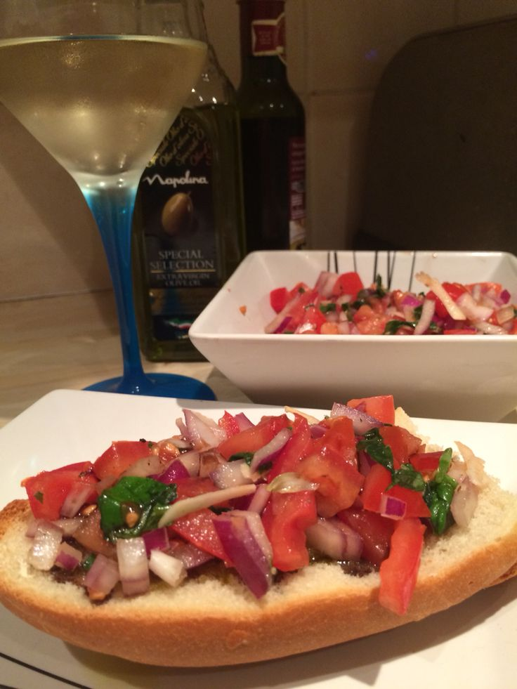 Home made bruschetta  Tomatoes /Garlic /Red onion /Basil /Olive oil/ balsamic vinegar! Gorgeous