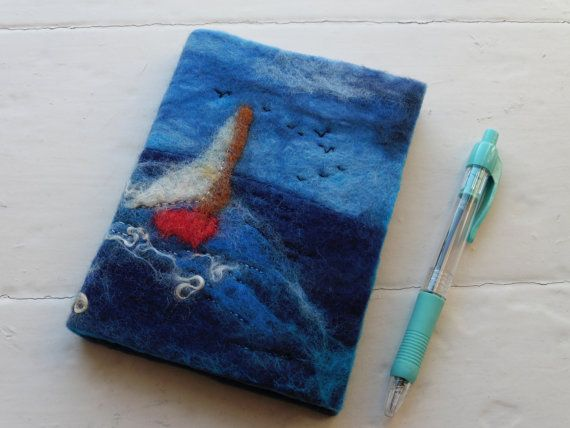 A6 Hand felted Journal Notebook: Sailing By by LittleDebFelts