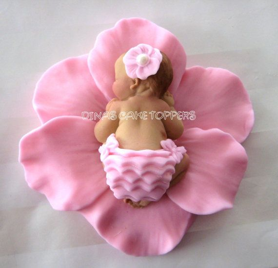 Baby Shower First Birthday FONDANT BABY Flower  Cake Topper Baptism Christening  favors decorations