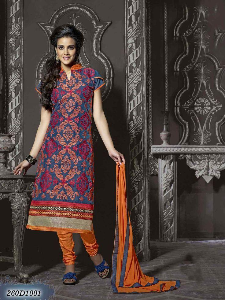 Salwar Suit Online Shopping / Women's Navy Blue Chanderi Salwar Kameez