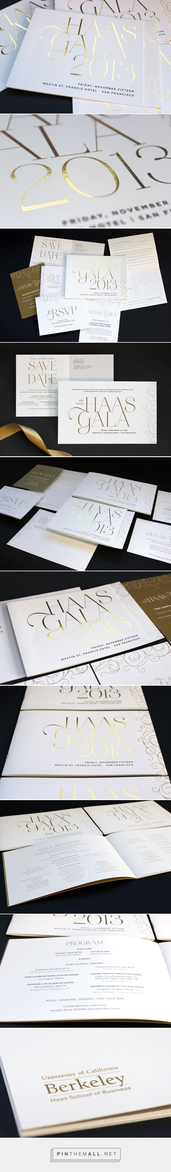 Haas Gala invitation suite. Gold foil, metallic ink, luxe cardstock. #foilstamp #invitation #gala #nonprofit || Jody Worthington