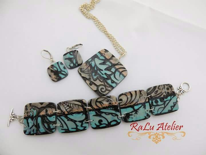 Polymer clay set of pendant, bracelet and earrings in mokume gane technique