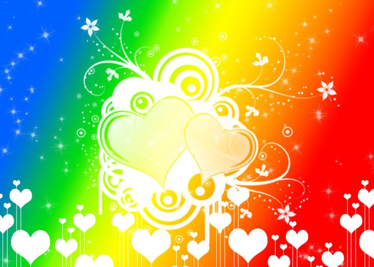 Rainbow Hearts n Sparkles Background by Magical-Mama