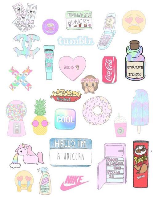 Une abo ma demandé des collages tumblr transparents (petits dessin kawaii) Les voila !