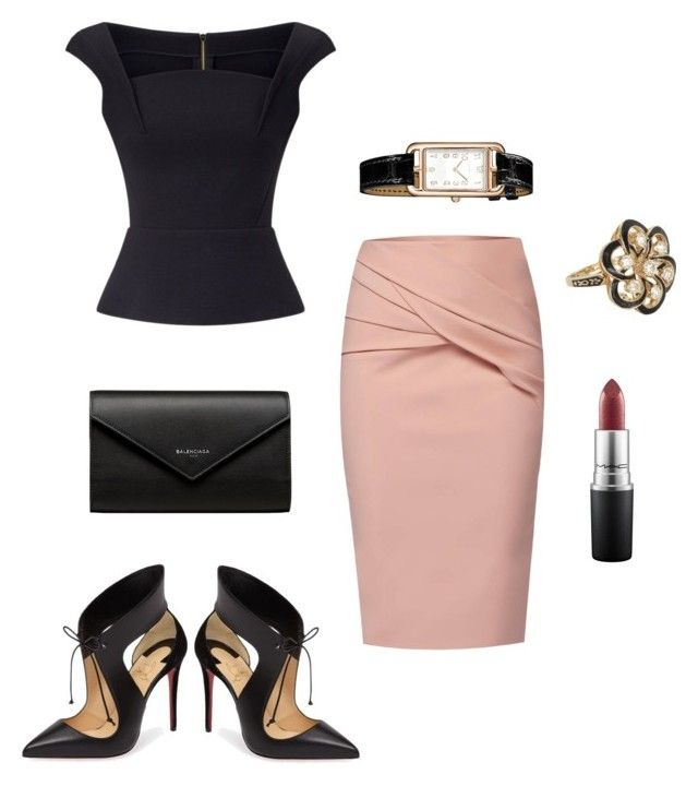 """""""working Tuesday"""" by emiloveboutique on Polyvore featuring Roland Mouret, WtR, Christian Louboutin, Balenciaga, Vintage, MAC Cosmetics and Hermès"""