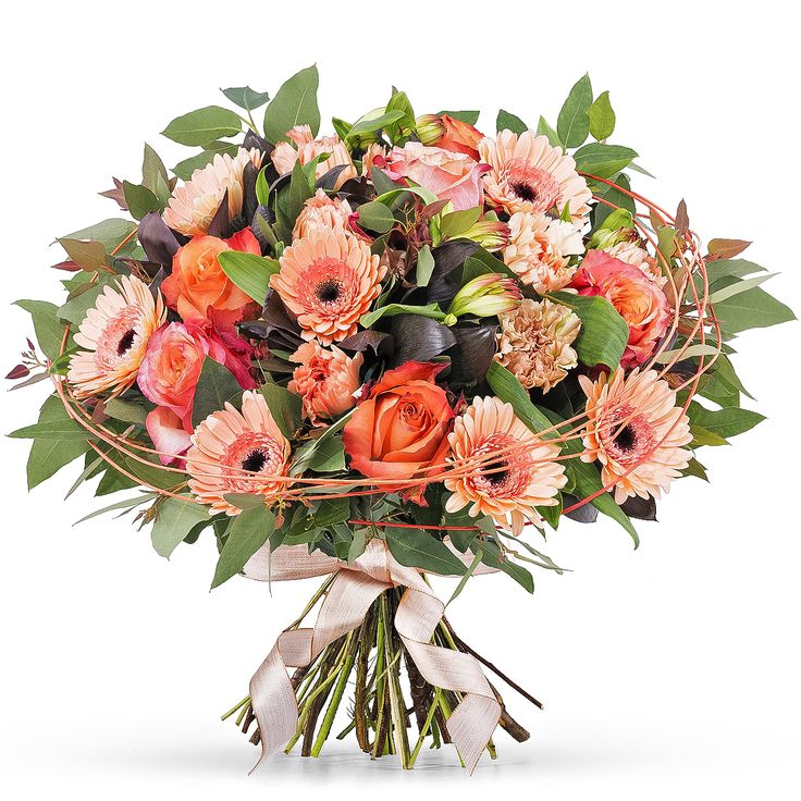 Welcome spring with this vibrant bouquet of roses, gerberas, alstroemeria, and carnations in fresh shades of salmon and orange.