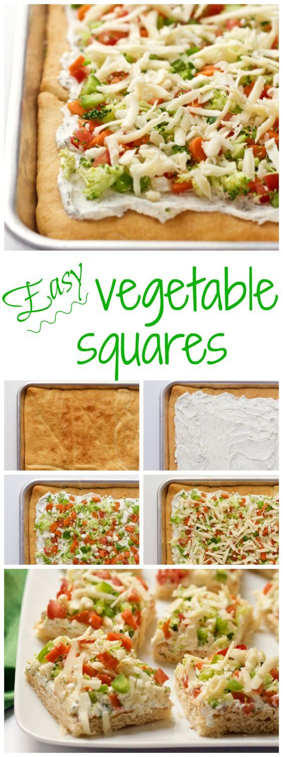 Easy vegetable squares - crescent rolls are spread with a cream cheese mixture, sprinkled with veggies and cheddar and served cold for a great veggie pizza appetizer!   FamilyFoodontheTable.com
