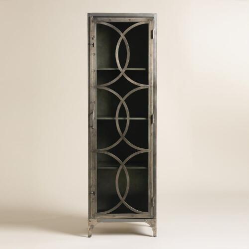 Metal and Glass Half Circle Eriksen Curio Cabinet | World Market