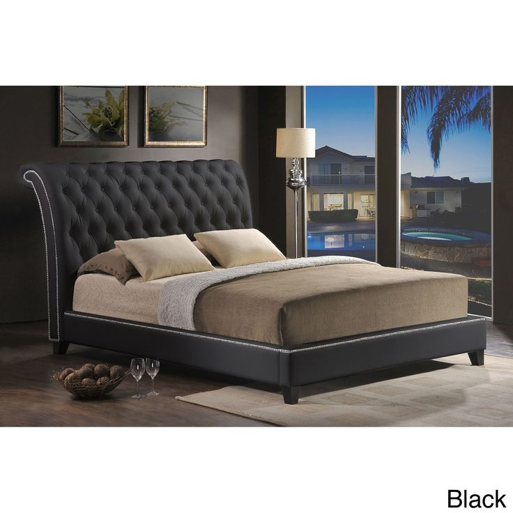 baxton studio jazmin tufted modern bed with upholstered headboard king size bed black