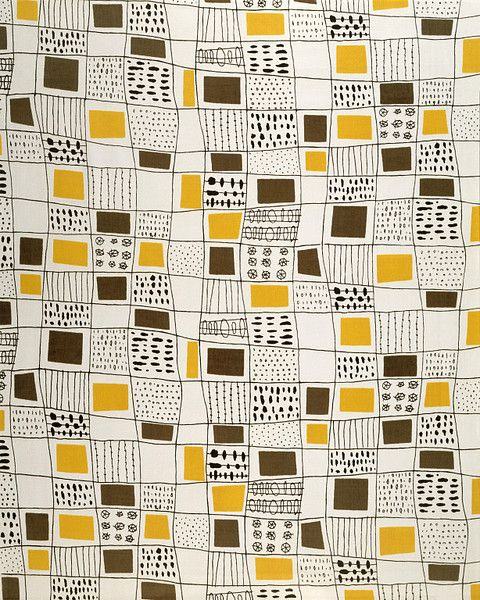Fabric designed by Terence Conran 1951, for David Whitehead Ltd. via V