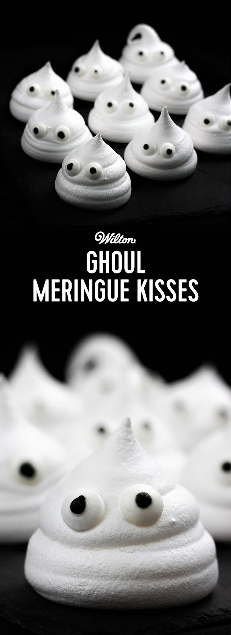 Ghoul Meringue Kisses - Use these tasty ghouls to decorate a layer cake with or bag up in some scary packaging to give away as Trick or Treats. Use tip number 12 to pipe the meringues and attach Wilton candy eyes. These yummy treats are super easy to make and delicious to eat.