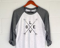 Love Arrows Baseball T-Shirt.  Womens Top.  Shirt.  Tee.  Christmas Gift