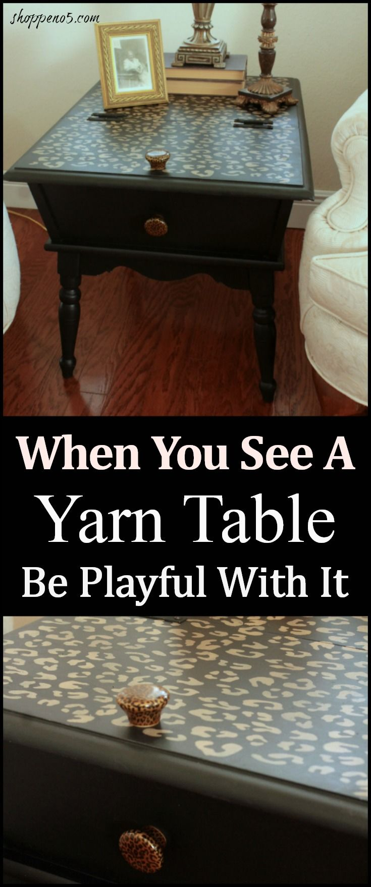 Have you seen the yarn tables from the '60's or 70's?  Several years ago my friend found one and had it brought to me.  Ever since then whenever I see one I have to buy it.  It has been over a year since I have seen any in the local thrift stores.  Not too long ago I stopped at a nearby thrift store and there it was in all its brown glory.  My motto is when you see a yarn table be playful with it.