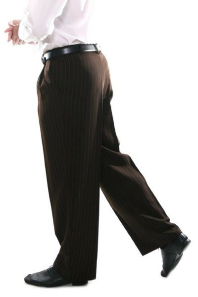 Men's Orange Striped Brown Tango Pants  #tangopants #menstangopants #menstangoclothes #argentinetango