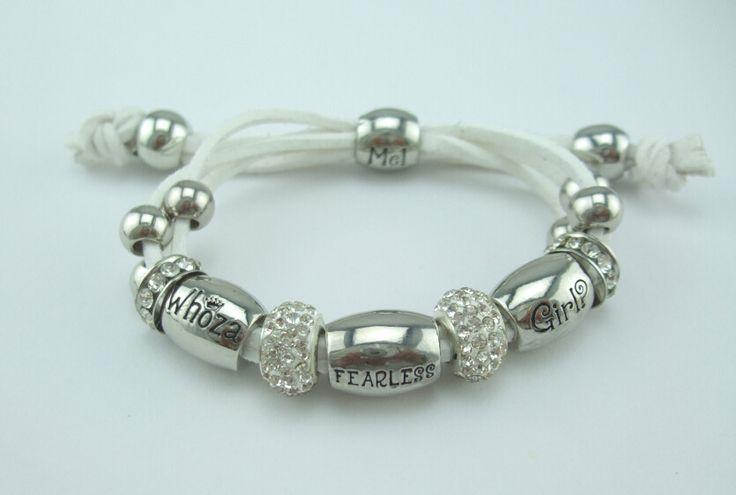 Whoza FEARLESS Girl? White Shamballa Bracelet.