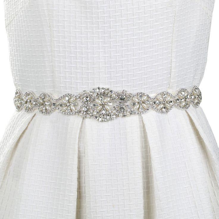 Ivory Crystal Bridal Sash Belt and Crystal Beaded Applique Women Cummerbunds Wedding Clothing Accessories Sash Belt