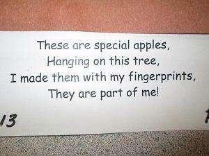 Poem for Fingerprint Apples / Apple Tree Craft (from Mrs. Karen's Preschool Ideas): Preschool Ideas Cut, Apples Trees, Apples Commun Helper, Add Poems, Fingerprints Apples, September Apples Busses, Apples Theme