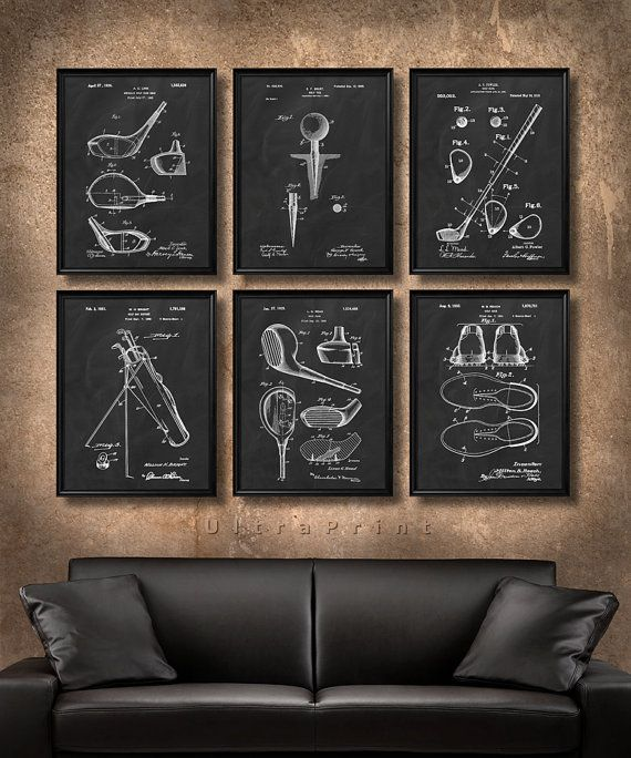 set of 6 golf vintage patent illustration art print or canvas wall art decor golfer gift golf club golf ball tee golfing gift s20 art force office decoration