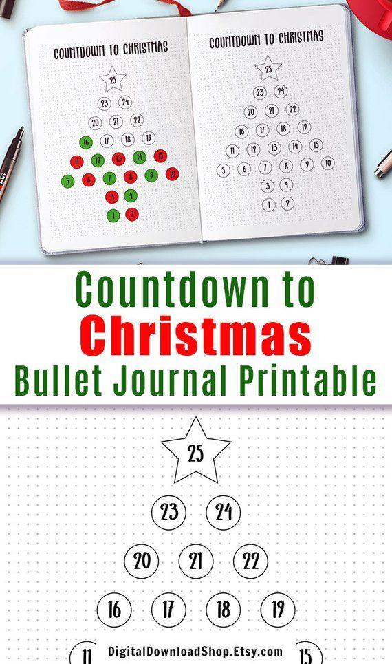 Bullet Journal Christmas Countdown Printable, Countdown to Christmas