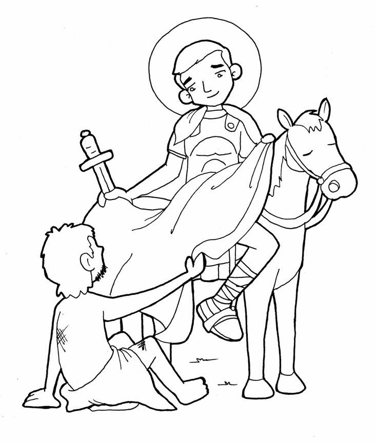 Saint Martin Catholic Coloring Page  Feast day is November 11
