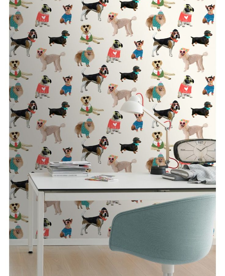 This fun wallpaper features a collection of adorable dogs wearing sunglasses and quirky outfits, perfect for any animal lovers! The design shows a variety of breeds including a pug, poodle and labrador in various poses against a white background.