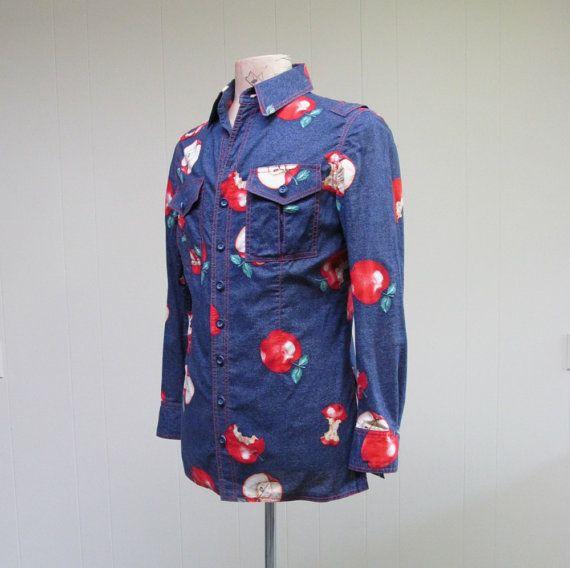 Vintage 1970s Mens Shirt 70s Navy Apple Print Shirt