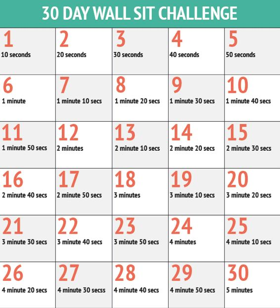 Wall Sit Challenge 30 Day Wall Sit Challe...