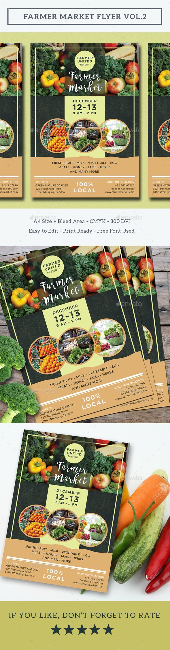 Farmer Market Flyer Vol.2 — Photoshop PSD #organic #natural • Download ➝ https://graphicriver.net/item/farmer-market-flyer-vol2/19118961?ref=pxcr