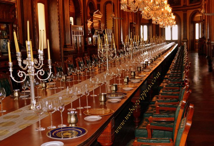 Hyderabad - Taj Falaknuma Palace Grand Dining Table. Said to be the world's longest comfortably seating a mere 101 people! A romantic place for a wedding reception!