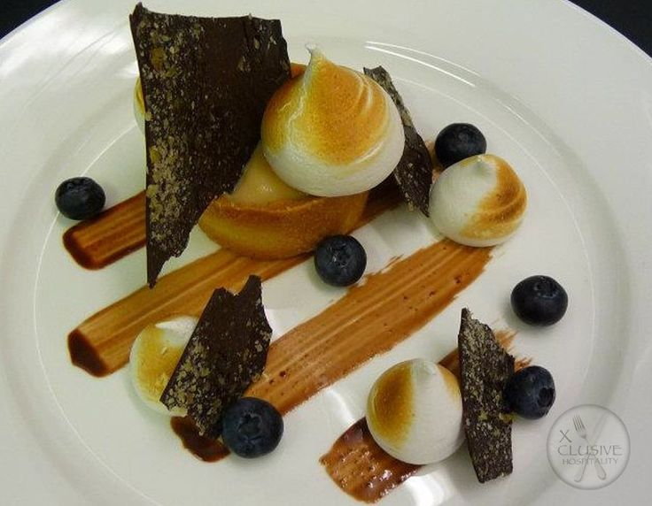 Passion Fruit Curd Tart, Meringue, Chocolate #catering #events #leicestershirefood #xclusive