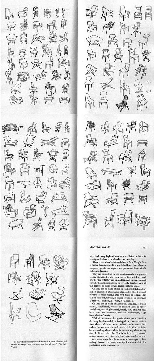 153 sketches of chairs of Bruno Munari's Design as art (1966) ...And That's NOT All