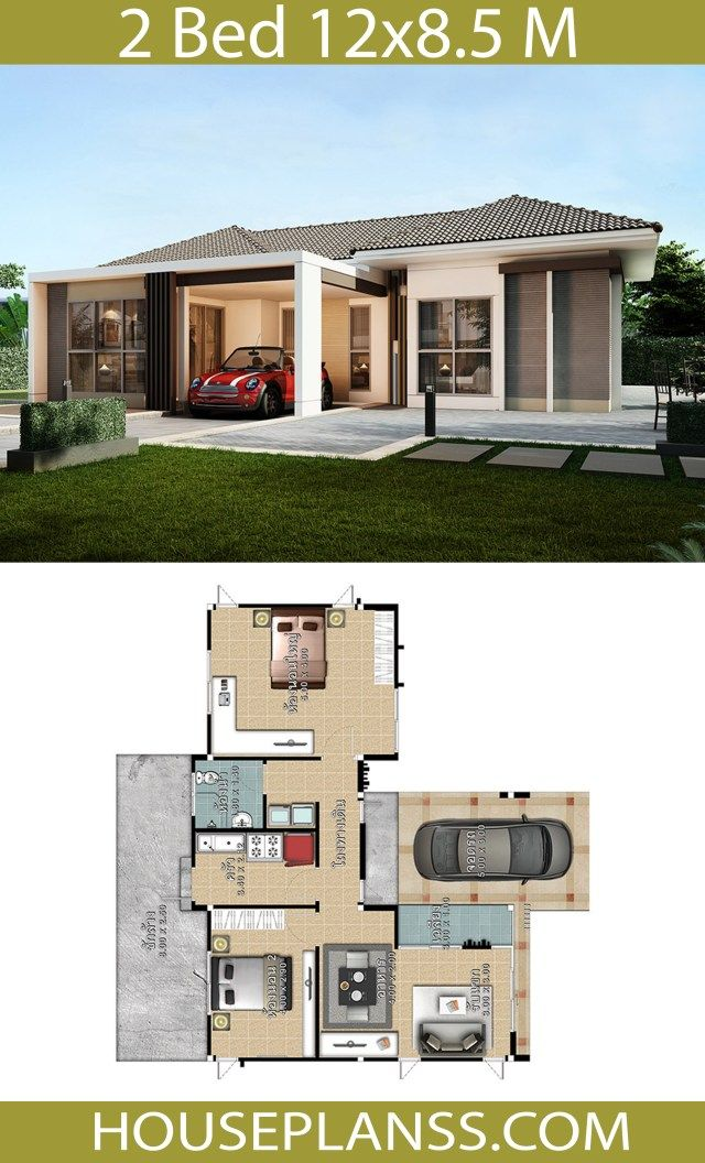 House Design Plans Idea 12x8 5 With 2 Bedrooms Home Ideassearch House Architecture Design Simple House Design House Design