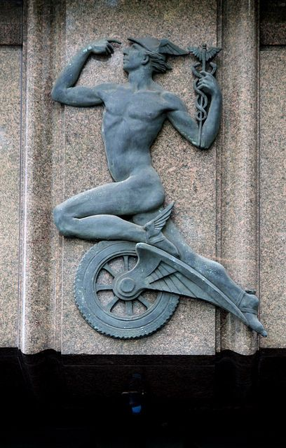 Australian Art deco: Mercury bas-relief, 10 Philip Street, Sydney, Australia. Mercury was a messenger who wore winged sandals, and a god of trade, thieves, and travel, the son of Maia Maiestas and Jupiter in Roman mythology.