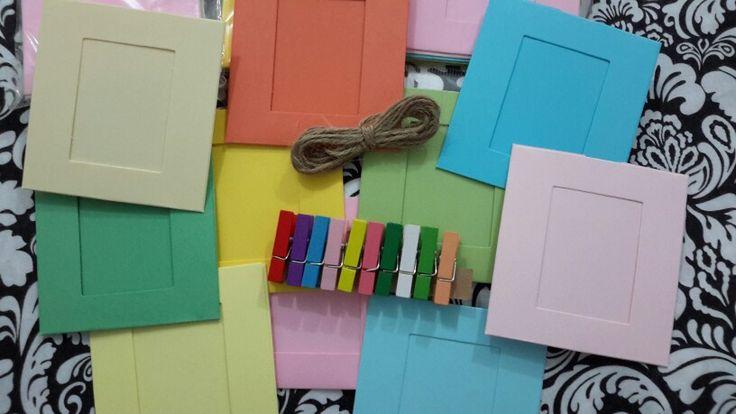 Tendedero de fotos en colores pastel ideal para cualquier evento