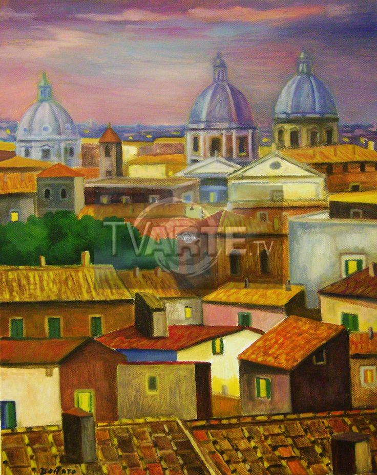 """""""Tetti a Roma"""" Artista: Stefano Donato Categoria: paesaggistica Tecnica  Olio su Tela Misura  40x50 #TvArte"""