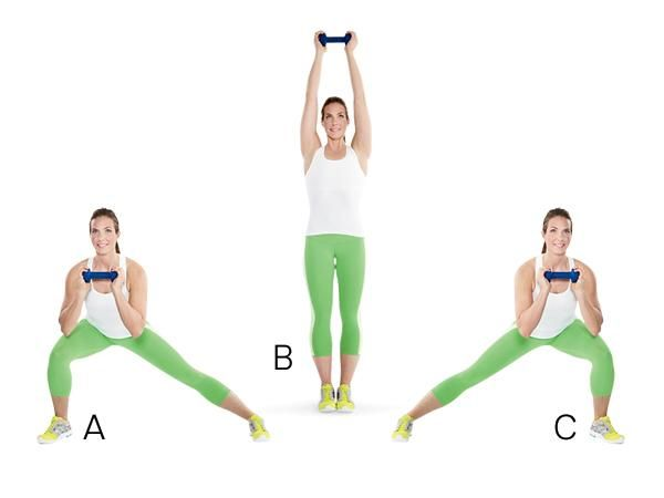 Side Lunge with Overhead Press: Stand holding 1 dumbbell with both hands at chest level. Take a big step to right and slowly lower into a side squat, keeping chest lifted, weight in heels, and knees behind toes (A). Press into right heel and come back to standing, stepping right foot next to left foot while extending arms and pressing weight overhead (B). Immediately step to left and lower into a side squat on that side (C). Alternate sides for each rep.